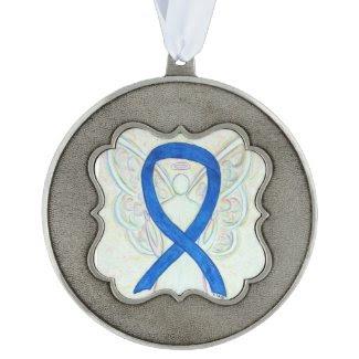 Blue Awareness Ribbon Angel Pendant Ornaments Scalloped Ornament