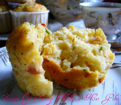 savoury corn & sausage muffin
