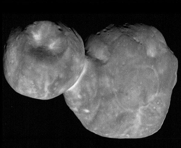 A high-resolution image of the Kuiper Belt object Ultima Thule that was taken by NASA's New Horizons spacecraft from 4,109 miles (6,628 kilometers) away...on January 1, 2019.