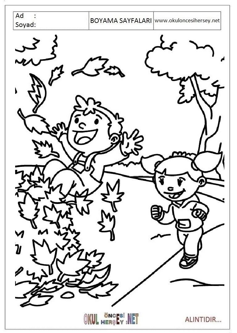 Sonbahar Boyama Sayfaları