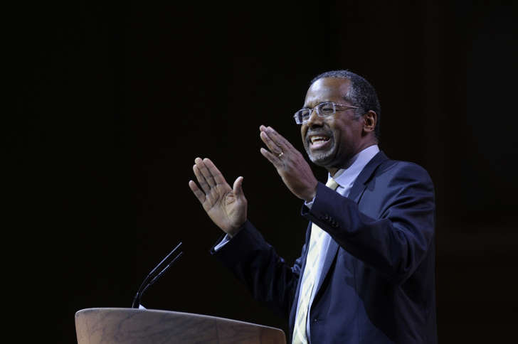 In this March 8, 2014, file photo, Ben Carson addresses the Conservative Political Action Conference annual meeting in National Harbor, Md.