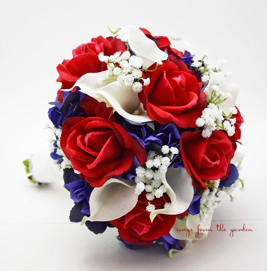 Red White Blue Bridal Bouquet Roses Hydrangea Calla Lilies Baby S Breath Wedding Bouquet Silk Flower Bouquet Real Touch Red White And Blue 2488449 Weddbook