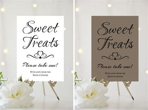 A4 A5 WEDDING SIGN   PERSONALISED   SWEET TREATS   WEDDING