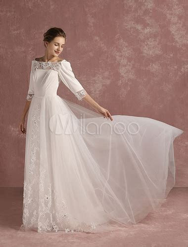 Lace Wedding Dress Tulle Bateau Beaded Bridal Gown