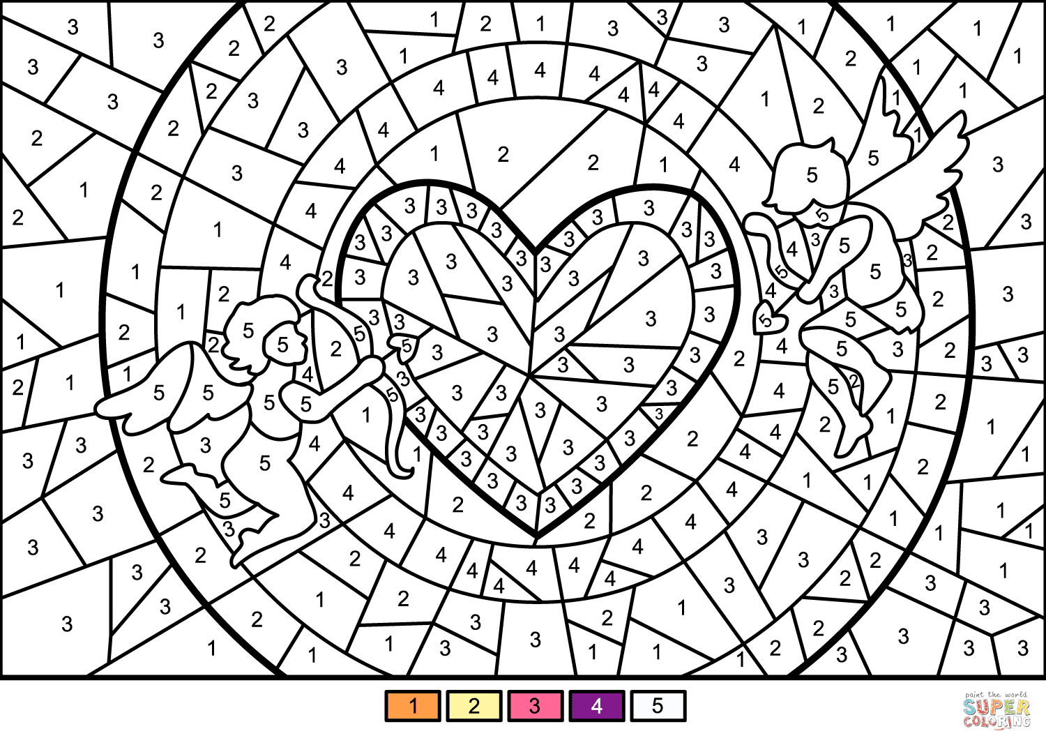 Cupids and Heart Color by Number | Free Printable Coloring ...