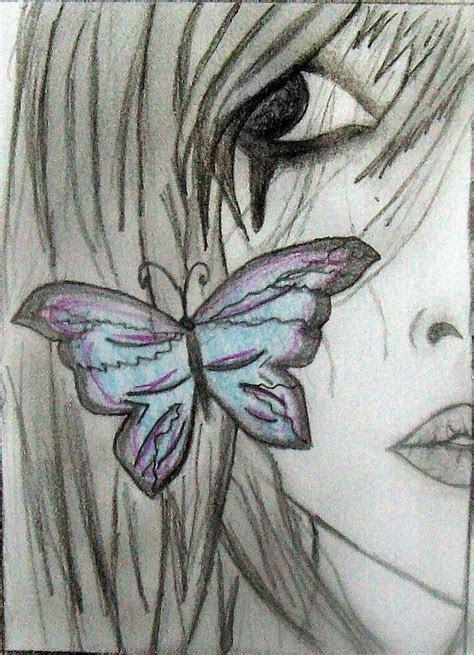 butterfly  crying girl art pinterest girls