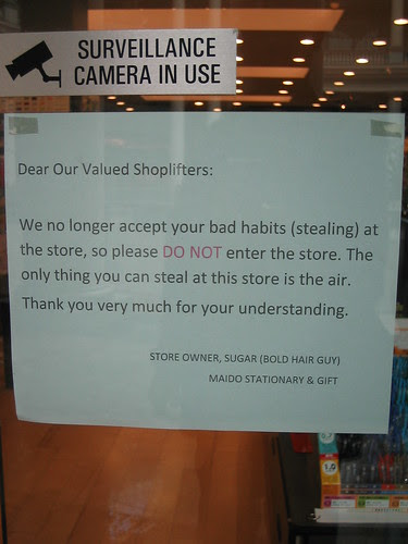 Dear Our Valued Shoplifters