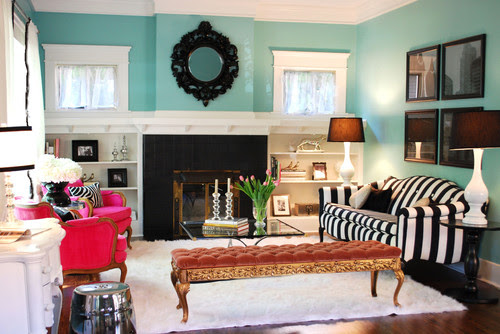 blue with black/white accents eclectic living room