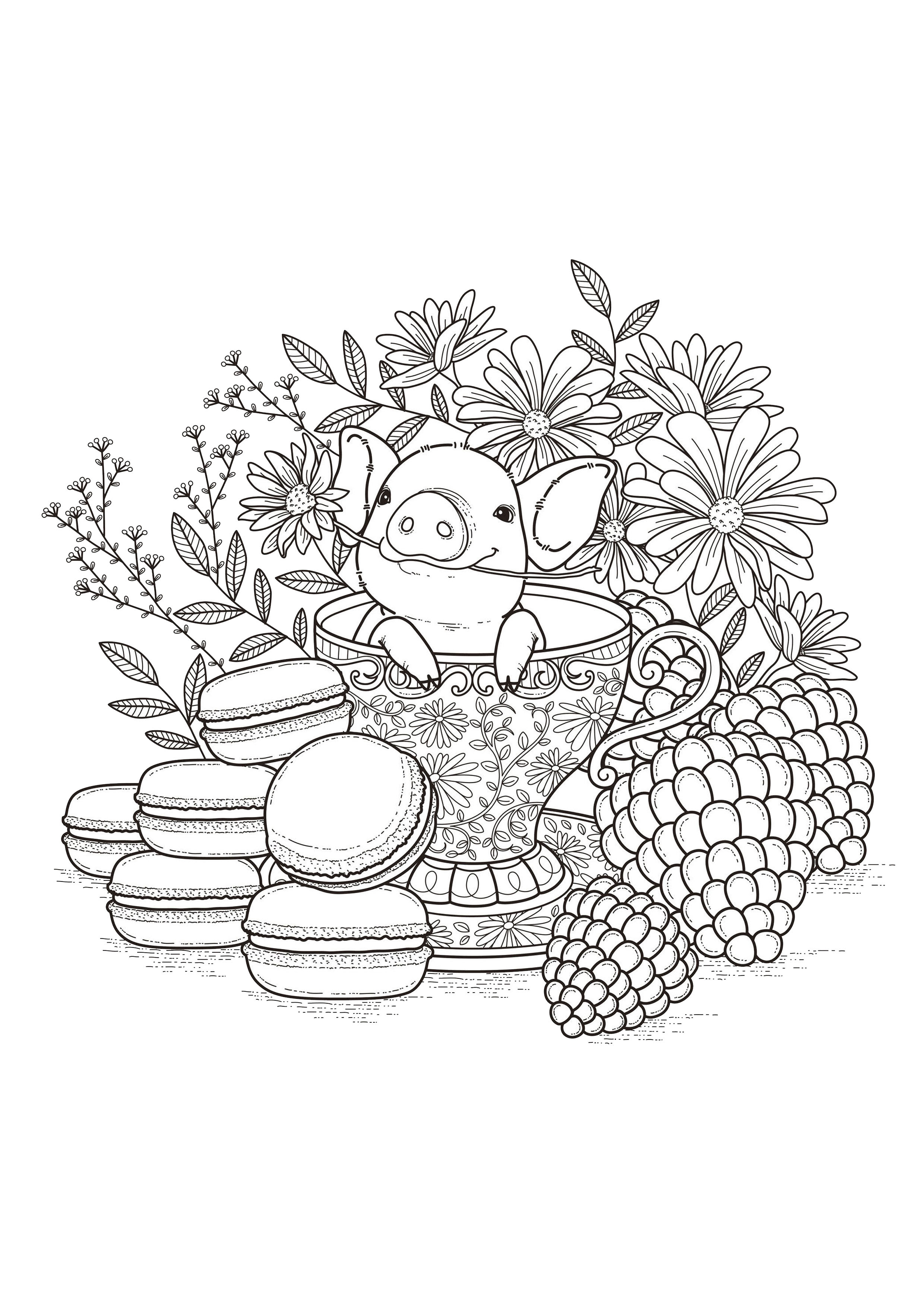 coloring page adults fruits macaroons