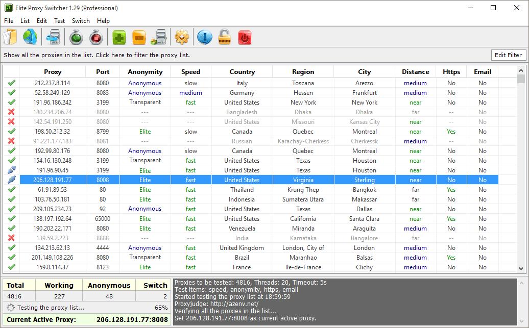 Elite Proxy Switcher Main Window