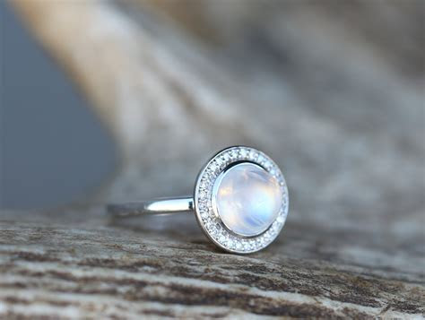 """TERRA"" IN MOONSTONE, 14K GOLD & DIAMOND HALO (available"