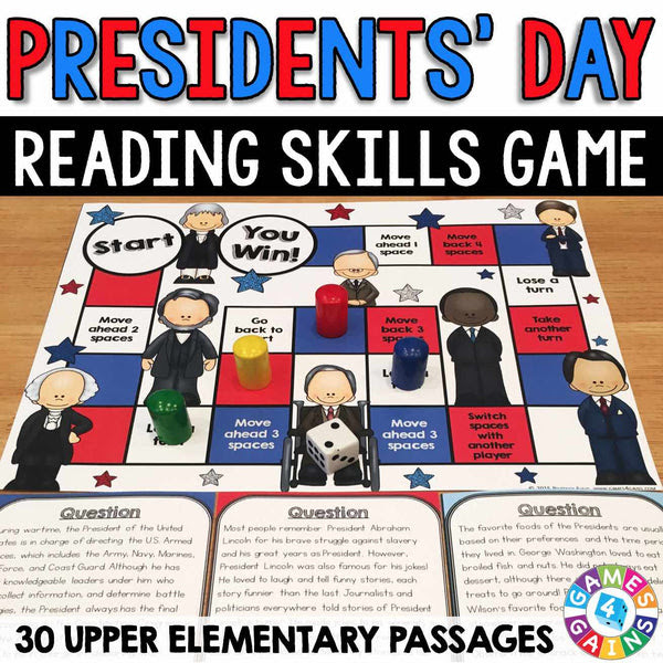 Presidents Day Reading Prehension Board Game – Games 4