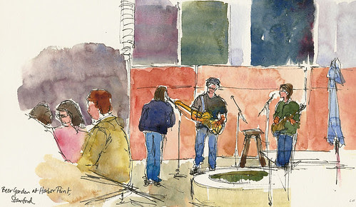 Band at the Harbor Point beer garden, Stamford, CT