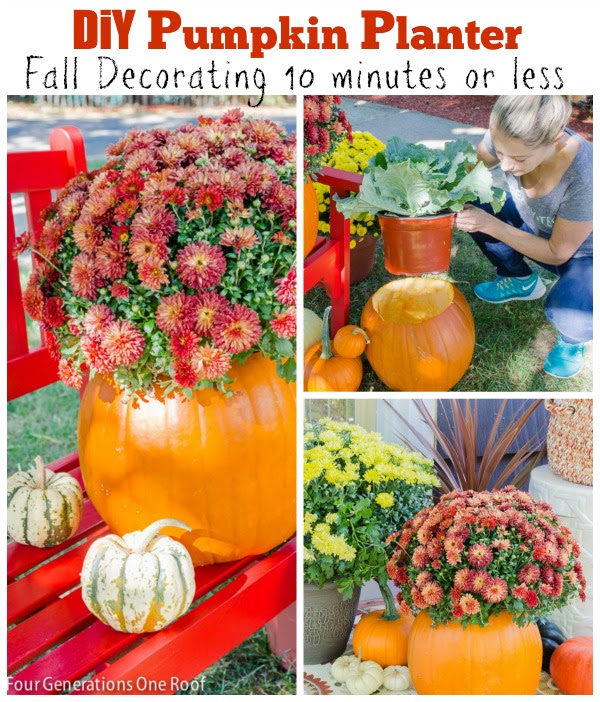 diy pumpkin planter fall decorating ideas 10 minutes or less