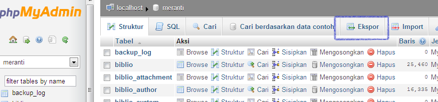 Back Up Database SQL Klik Ekspor