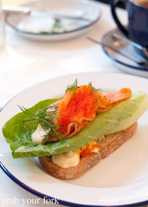 gravlax cured salmon sandwich at fika swedish kitchen cafe manly