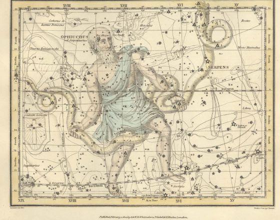 Constelación de 'Ofiuco', del 'Celestial Atlas', de Alexander Jamieson (1822)