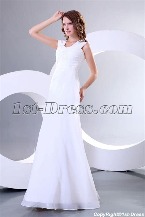 Simple Ivory Chiffon Long Second Wedding Dress for
