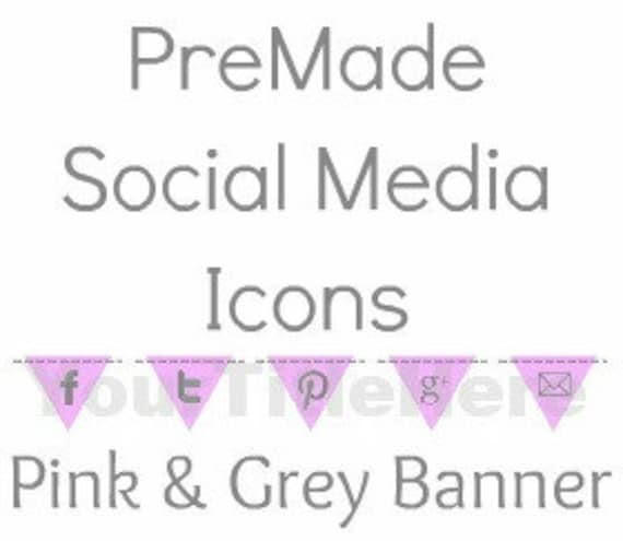 PreMade Social Media Icon Banner in Pink and Grey