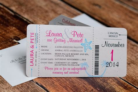 Neon boarding pass wedding invitations to moon palace