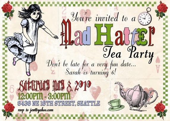 Mad Hatter Tea Party Invitations Decorations Art Activites Games