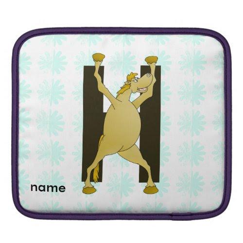 Pony Alphabet Monogram H Sleeves For iPads