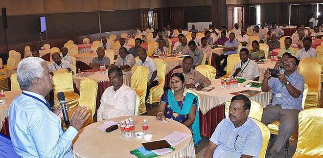 Participants at a workshop on solid waste management organised by Tiruchi Corporation on Tuesday.A.Muralitharan