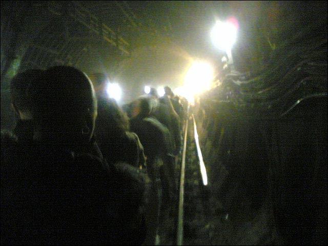 [Evacuating a London tube tunnel]