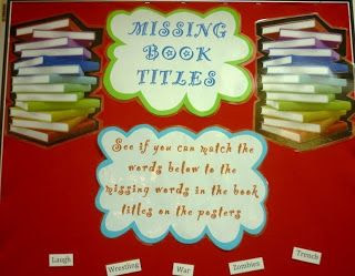 Library Displays: Missing Book Titles. What a great idea to get students interacting with books!