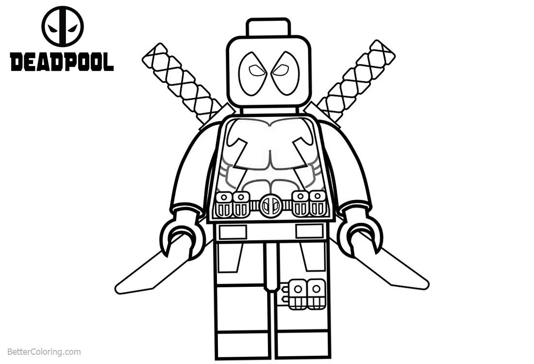 Lego Deadpool Coloring Pages Black and White