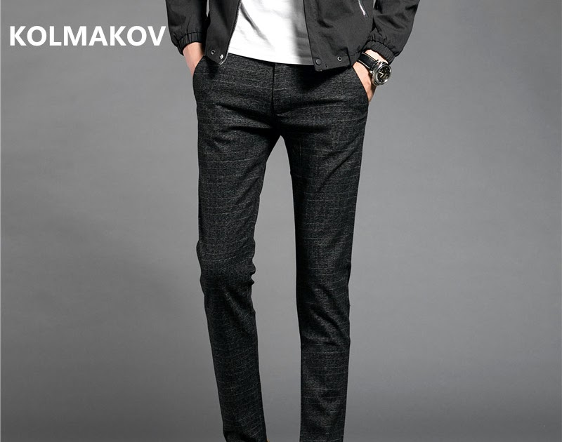 4994d44c330cc Skup Tanie 2018 Nowych Mężczyzna Business Casual Spodnie Czarne Społeczne  Długie Mężczyźni Slim Fit Big Size Wysokie Dobrej Jakości Spodni Męskich  Cena ...