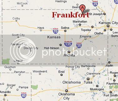 map showing Frankfort, Kansas