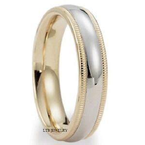 10K TWO TONE GOLD SOLID MENS WOMENS WEDDING BANDS,DOME
