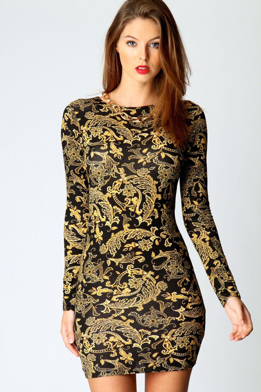 Pumps print long sleeve bodycon dress online canada