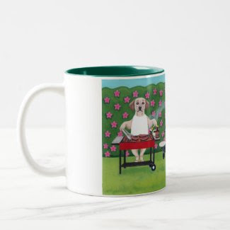 BBQ Labradors in the Azalea garden painting mug