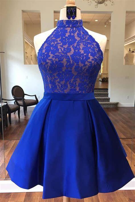 Royal blue satin short lace bridesmaid dress, halter prom