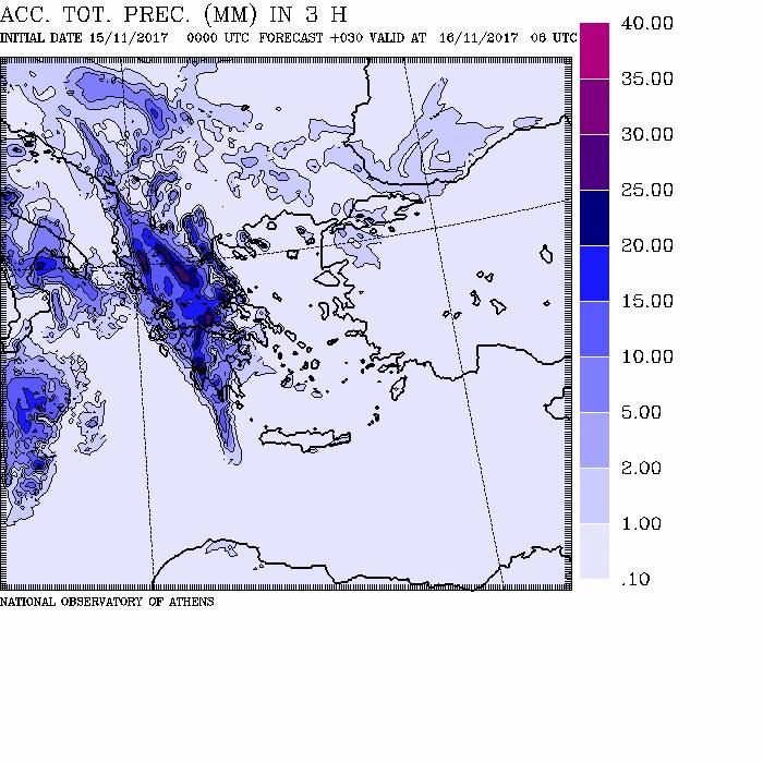 Στιγμιότυπα της προβλεπόμενης βροχής για το πρωί κιαι το απόγευμα της Πέμπτης