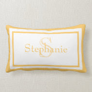 Sunny Yellow/ White Monogram Name Keepsake Pillow throwpillow