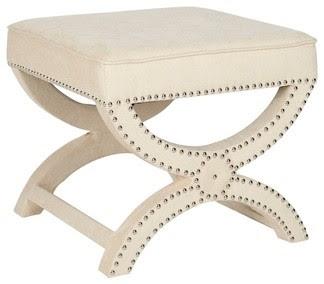 Dante X-Bench Cream Ottoman - traditional - bedroom benches - by