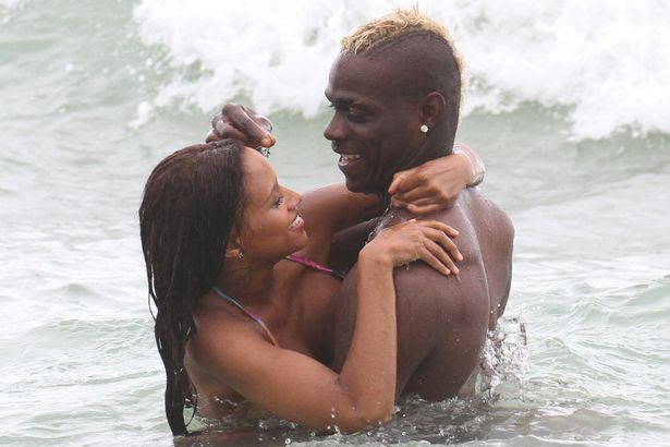 Mario Balotelli and fiancee Fanny Neguesha in the water at Miami Beach