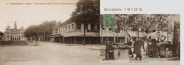 SAIGON 1910s - Perspective de l'Hôtel de Ville et Hôtel des Nations