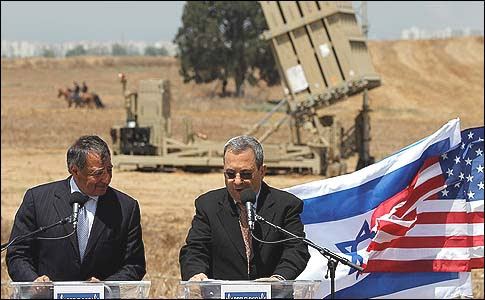 U.S. Secretary of Defense Leon Panetta, left, and Israel's Defense Minister Ehud Barak, earlier this year celebrated this mad, mad system known as Iron Dome, which all but guarantees many more years of Hamas terror.