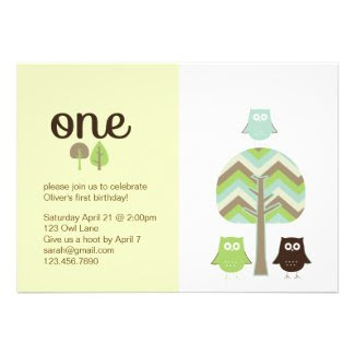 Owl First Birthday Invitation