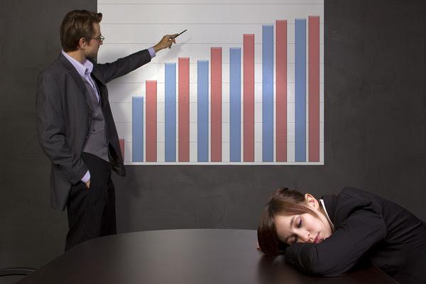 woman sleeping through presentation