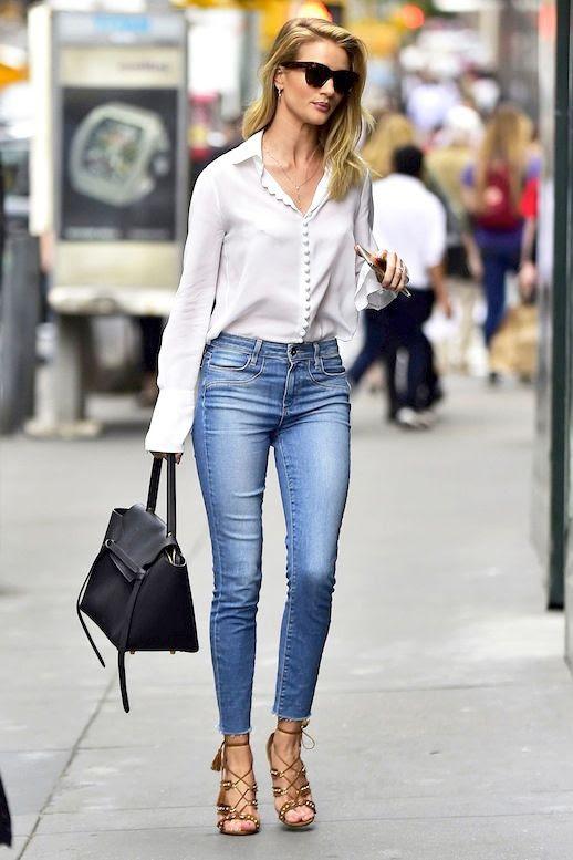 Le Fashion Blog Model Style Rosie Huntington Whiteley Sunglasses Button Front White Blouse Paige Denim Skinny Jeans Celine Bag Lace Up Aquazurra Sandals Via Harpers Bazaar