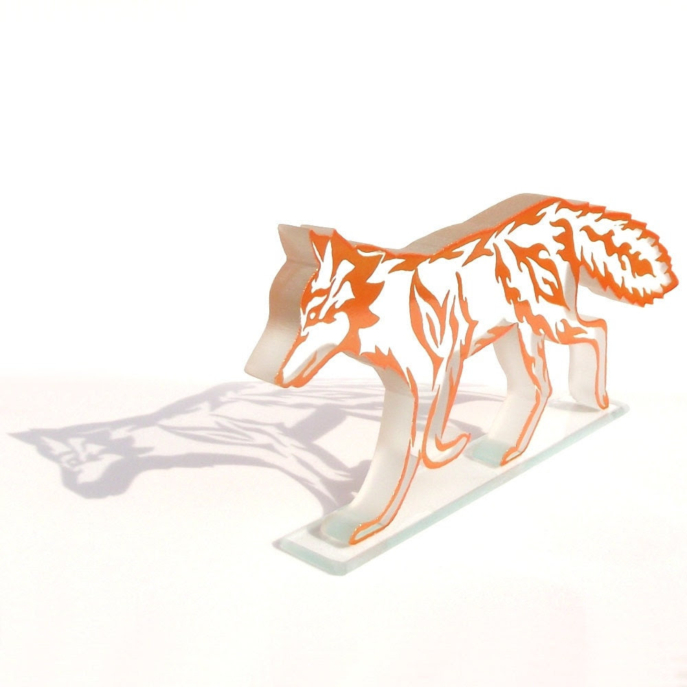Orange Fire Fox Glass Sculpture