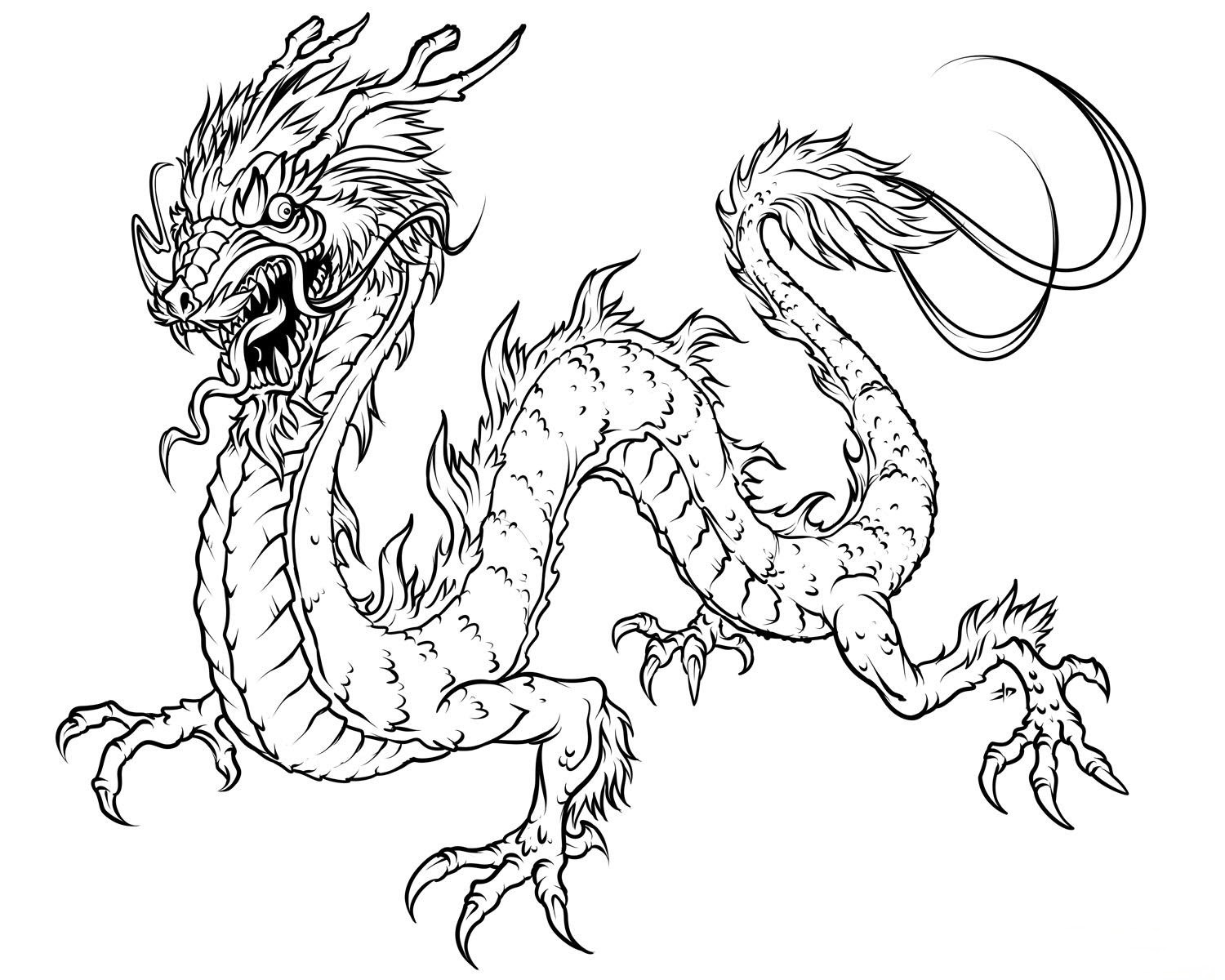 dragon coloring page free printable coloring pages - HD 1500×1200