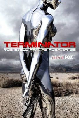 Promotional ad for TERMINATOR: THE SARAH CONNOR CHRONICLES, showing Shirley Manson's T-1000.