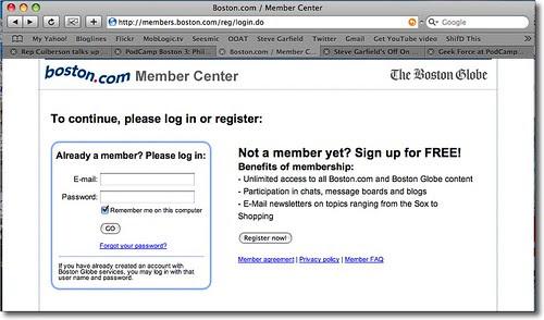 Boston.com Requires Login