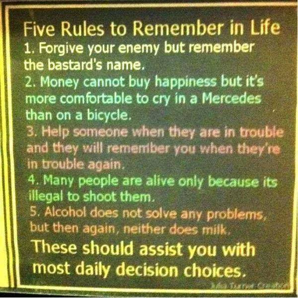 Five rules to remember in life
